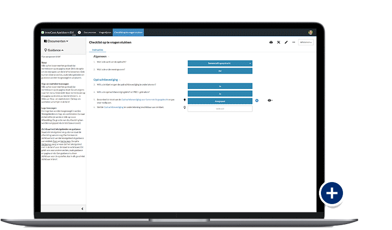 Screenshot checklist op te vragen stukken in de cloud-app PBC+